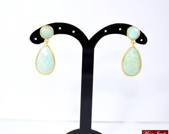 Amazonite stud,amazonite dangle  earring, gemstone earring beautiful gift,green color earring,natural stone earring drop stud ,mothers gift