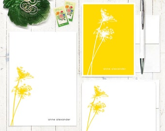 complete personalized stationery set - QUEEN ANNES LACE - personalized stationary set - note cards - notepad - choose color