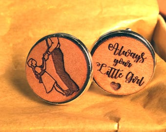 father of the bride gift, always your little girl cuff link, first father daughter dance