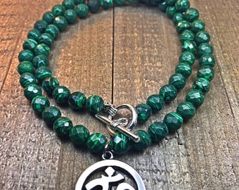 Beaded necklace, malachite necklace, womens necklace, jade necklace, beaded necklace, jewelry, gifts for her, necklaces, ohm necklace