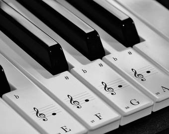 Keyboard / Piano Transparent Stickers for 52 White keys (Standard A)