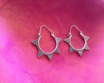 Aztec triangle hoop earrings