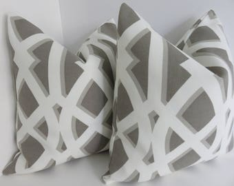 Outdoor/Interior Pillow Covers - Slate White Outdoor Pillows - Outdoor Pillow Covers- Taupe White Outddor Pilows- Outddor Pillows