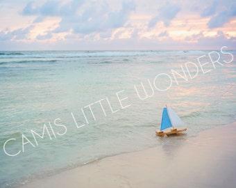 Florida Emerald Coast and toy boat Stock Image