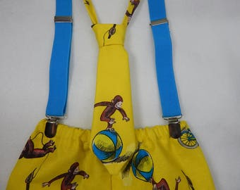 curious george diaper cover or shorts with matching necktie and blue suspenders, curious george cake smash, curious george birthday