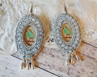 Czech glass earrings,Boho earrings,embroided earrings