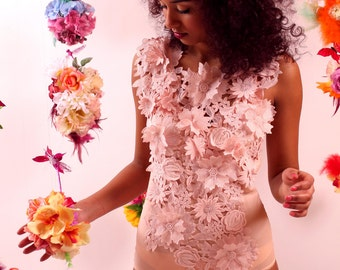 Ships in 1 business day! Gloria: Stretch Silk Body with 3-D Floral Lace. Blush pink and Ivory (Without the bunny tail)
