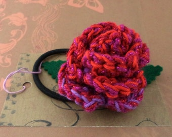 Crocheted Rose Ponytail Holder or Bracelet - Sparkly Reds, Oranges, and Purples (SWG-HP-ZZ13)