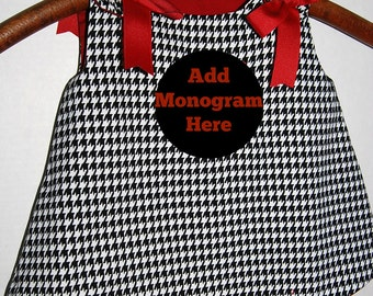 Houndstooth baby girl jumper  A-line DRESS black and white houndstooth  red girls dress  toddler  Made to order