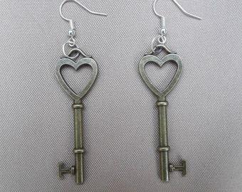 Heart Key Earrings - Metal