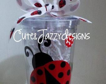 Personalized 16 oz, Ladybug, Acrylic, BPA Free Tumbler with Straw