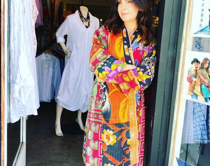 New style kantha cotton teversible coat
