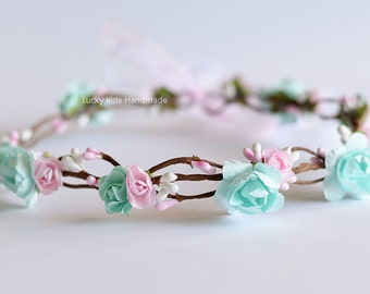 Light pink and Mint crown, Flower girl halo, Pink and Mint Flower Crown, Girl hair wreath Photo prop, Pink Mint Headband, Woodland Halo