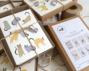Cat notecards, boxed cards, set of 8 notecards, matching cat wrapping papers, cat cards, cat stationery