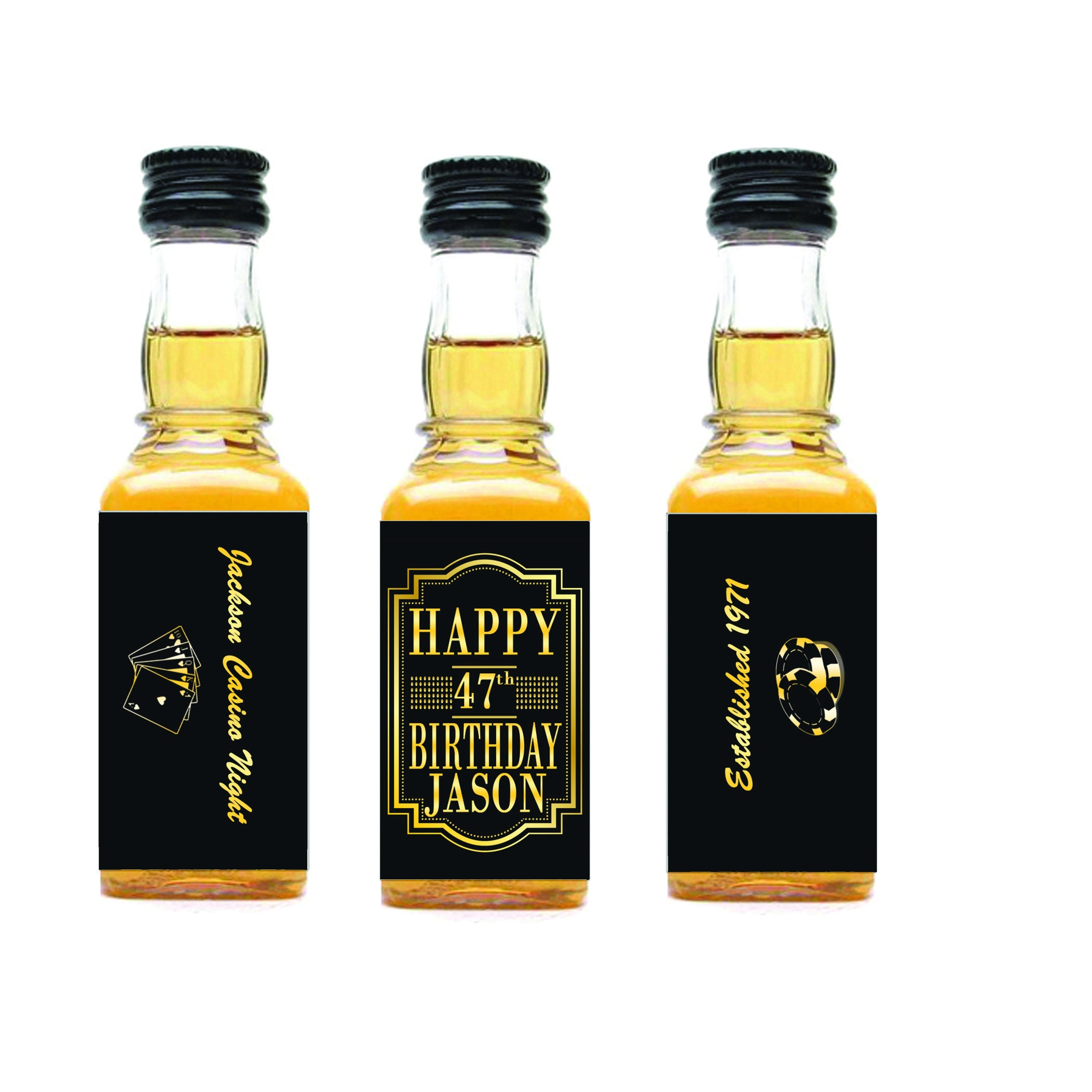 Black and Gold Birthday Mini Liquor Bottle Labels Personalized