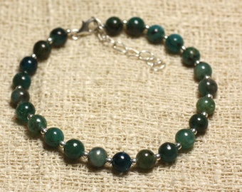 Bracelet 925 sterling silver and gemstone Apatite 6mm beads