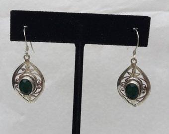 Emerald Dangle silver earring