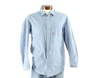 Vintage 90s LEVIS Chambray Shirt Snaps Light Blue Cotton Denim Work Chore Jacket 1990s Mens Large L