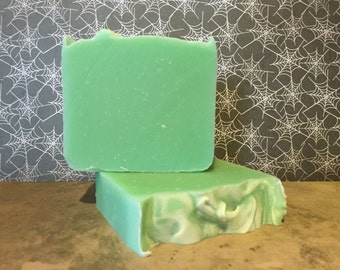 Absinthe Soap Scented Handmade Bar Soap in Bright Neon Green Handmade Soap Scented Soap Moisturizing Gentle Artisan Soap 5oz - 6oz Bar Soap