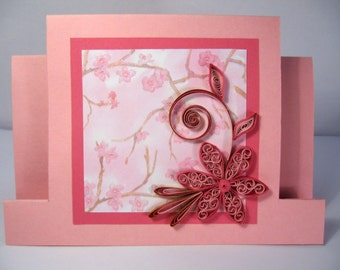 Quilled Mother's Day Card - Handmade Paper Quilling Card - Beautiful Mom / Girlfriend / Sister Birthday card - pink quilled flower