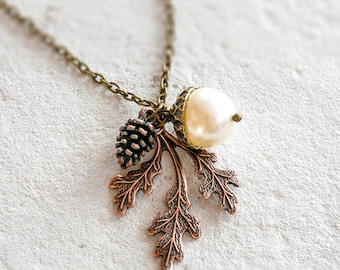 Acorn Pendant Necklace, Pinecone Necklace, Oak Leaf Necklace, Fall Necklace, Autumn jewellery, Fall Jewelry, Woodland Wedding, Gift for Her