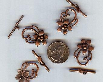4 Antique Copper Tibetan Silver Fancy Flower Toggle Clasps 28x20mm