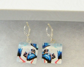 Pug Earrings/ Original wearable art