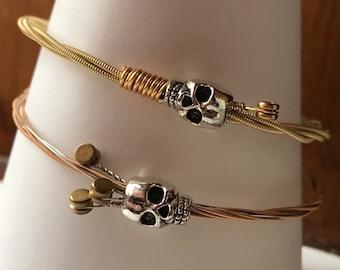 Guitar string skull bracelet bangle, recycled. Strings Gone Wild. Handmade