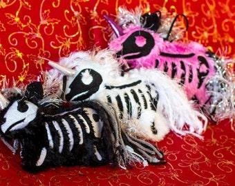 Plush Fluffy Skeleton Unicorn Ornament with Sparkle Ear and Lamé Stuffed Horn