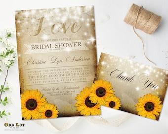 Rustic Sunflower Bridal Shower Invitation Yellow Sunflower Invitation Summer Wedding Fall Wedding DIY Printable Sunflower Wedding Set