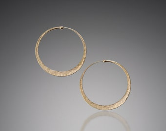 Large Gold Hoops 1.5 inch // Big Gold Hoops // Solid 14k Gold Hoop Earrings // Solid Gold Hoops // Thick Gold Hoops Earrings