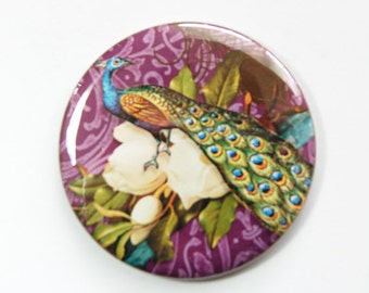 Peacock Pocket mirror, Pocket mirror, purse mirror, Peacock Mirror, Purple, Peacock, mirror for her, gift for her, radiant orchid (3648)