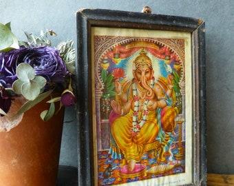 Vintage Wooden Frame with Hindu God Picture - Ganesh