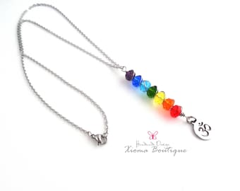 Handcrafted – Lovely NECKLACE 7 Chakra Crystals Om Stainless Steel
