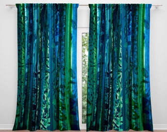 2 Curtain Panels Blue White