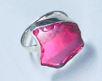 Vivid pink rare sea glass ring.