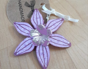Chain pendant polymer Clay silver flower