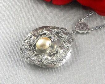 Locket,Silver Pearl Locket,Locket,Jewelry Gift, Locket,filigree locket necklace,Wedding Necklace,bridesmaid necklace