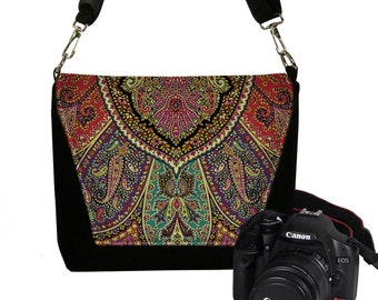 Camera Bag Purse Dslr Camera Case for Canon Nikon Sony Womens  Messenger Bag w/ zipper pocket Bohemian Boho Paisley red purple teal gold MTO