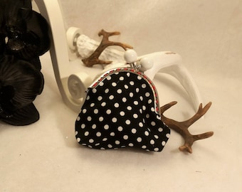 small coin purse with polka dots with vintage clasp