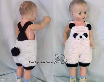 Not Physical item-Baby Panda Overall Shorties,Baby Costumes, Rompers, Buttons at Legs for Easy Change - INSTANT DOWNLOAD Crochet Pattern