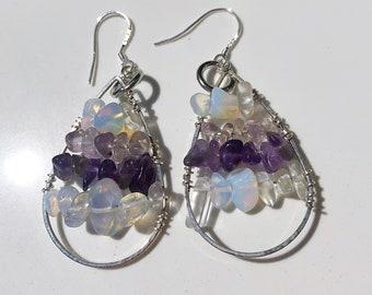 Amethyst & Moonstone Chip Silver Wire Wrapped Teardrop Earrings