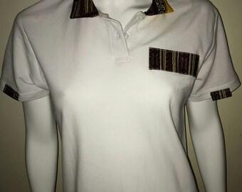 Women Dashiki Polo White with collar and stripe (white and yellow) Black Panther Wakanda Motherdays