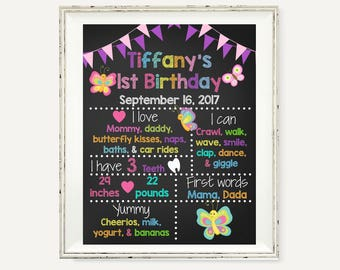 Butterfly, 1st Birthday Sign, Birthday Chalkboard, Birthday Poster, Chalkboard Sign, 1st Birthday, First Birthday, 1st Birthday Poster