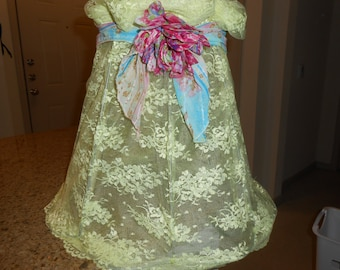 Shabby Chic Lamp Shade Wire Frame Hand-dyed Chartreuse Lace Floral Trims