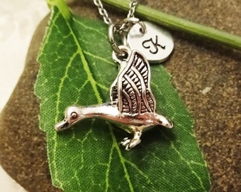 3D GOOSE NECKLACE in silver tone - personalized with initial charm - choice of chains