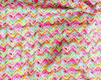 Rainbow chervron euro CL knit 1/2 yard cotton lycra knit SALE