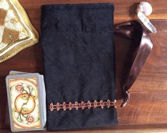 Black Velveteen Tarot Pouch - 100% cotton, tarot storage