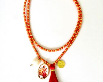 Durga Necklace for strength and courage, faceted coral necklace, durga necklace, hindu goddess necklace, strength necklace