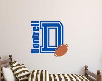 Football Boys Name Decal-Varsity Name Decal-Dorm Room Decor-Custom Wall Decal-Nursery Decor-Nursery Wall Decal-Kids Name Wall Vinyl Decals